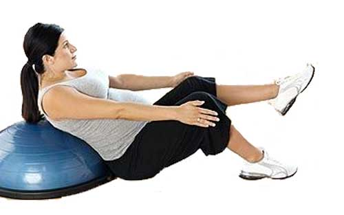 Pregnant Woman V-Sit Exercise Supported by Balance Trainer